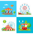 colored amusement park composition vector image vector image