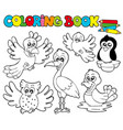 coloring book with cute birds 1 vector image
