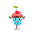 cute happy cupcake cartoon character vector image vector image