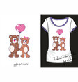 cute t-shirt with bears with balloon vector image vector image