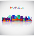 damascus skyline silhouette in colorful geometric vector image vector image
