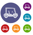 golf club vehicle icons set vector image vector image