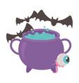 happy halloween eye cauldron and bats vector image vector image