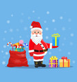 happy santa claus with presents vector image vector image