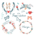 Happy Valentines day elegant graphic elements vector image