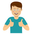 happy young man with thumbs up vector image
