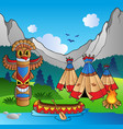 indian village with totem and canoe vector image