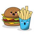 kawaii burger french fries image vector image vector image