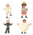 kids costume halloween children masquerade party vector image