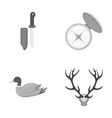 knife with a cover a duck a deer horn a compass vector image vector image