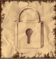 Lock icon isolated on vintage background vector image vector image