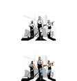 men builders with construction equipment vector image