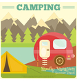 Mountain Camping with Family Trailer Caravan vector image