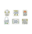 organic food labels set eco healthy natural food vector image vector image