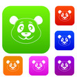panda set color collection vector image vector image