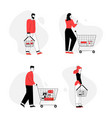 people buying food in supermarket isolated set vector image