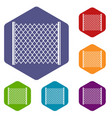 perforated gate icons set hexagon vector image vector image