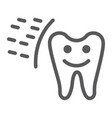 protected tooth line icon mouth and dental vector image