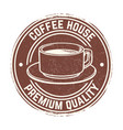 round banner with coffee cup with grunge effect vector image vector image