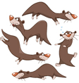 Set Cartoon Cute Otters vector image