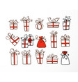 set doodle sketch gift boxes with red ribbond vector image