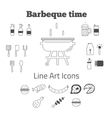 set of line art barbeque icons in minimal vector image vector image