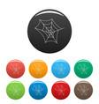 spiderweb icons set color vector image vector image