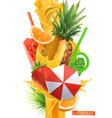 splash juice and sweet tropical fruits summer vector image vector image