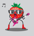 strawberries in sunglasses playing guitar heavy vector image vector image