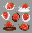 strawberry dessert icon set vector image