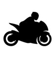 super sport bike motorcycle with rider silhouette vector image vector image