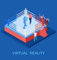 virtual reality boxing match on isometric vector image vector image