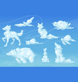 white clouds in shape animals in sky vector image