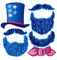 ink hand drawn set of hat beards and mustaches vector image