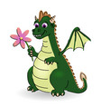 little dragon with flower vector image