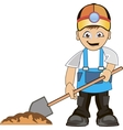 Worker digs pit vector image