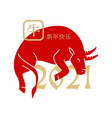2021 chinese new year with red ox silhouette vector image vector image