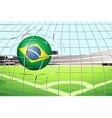 a soccer ball with flag brazil vector image vector image