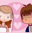 beeautiful wedding couple cartoon vector image