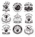 bowling set emblems badges and labels vector image vector image