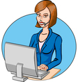 Cartoon call operator vector image vector image