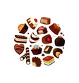cartoon chocolate candies vector image vector image