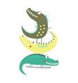 cartoon crocodile print vector image