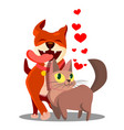 cat with dog in love with flying hearts vector image