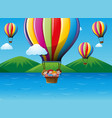 children riding on colorful balloon in the sky vector image vector image