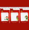 christmas note template with elf vector image vector image