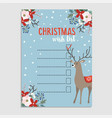 cute christmas wish list with deer winter floral vector image vector image