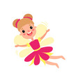 cute happy fairy in pink dress with wings flying vector image vector image