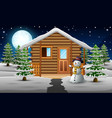 cute snowman standing in front of the house with a vector image