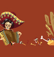 day of the dead man skeleton in mexican suit vector image vector image